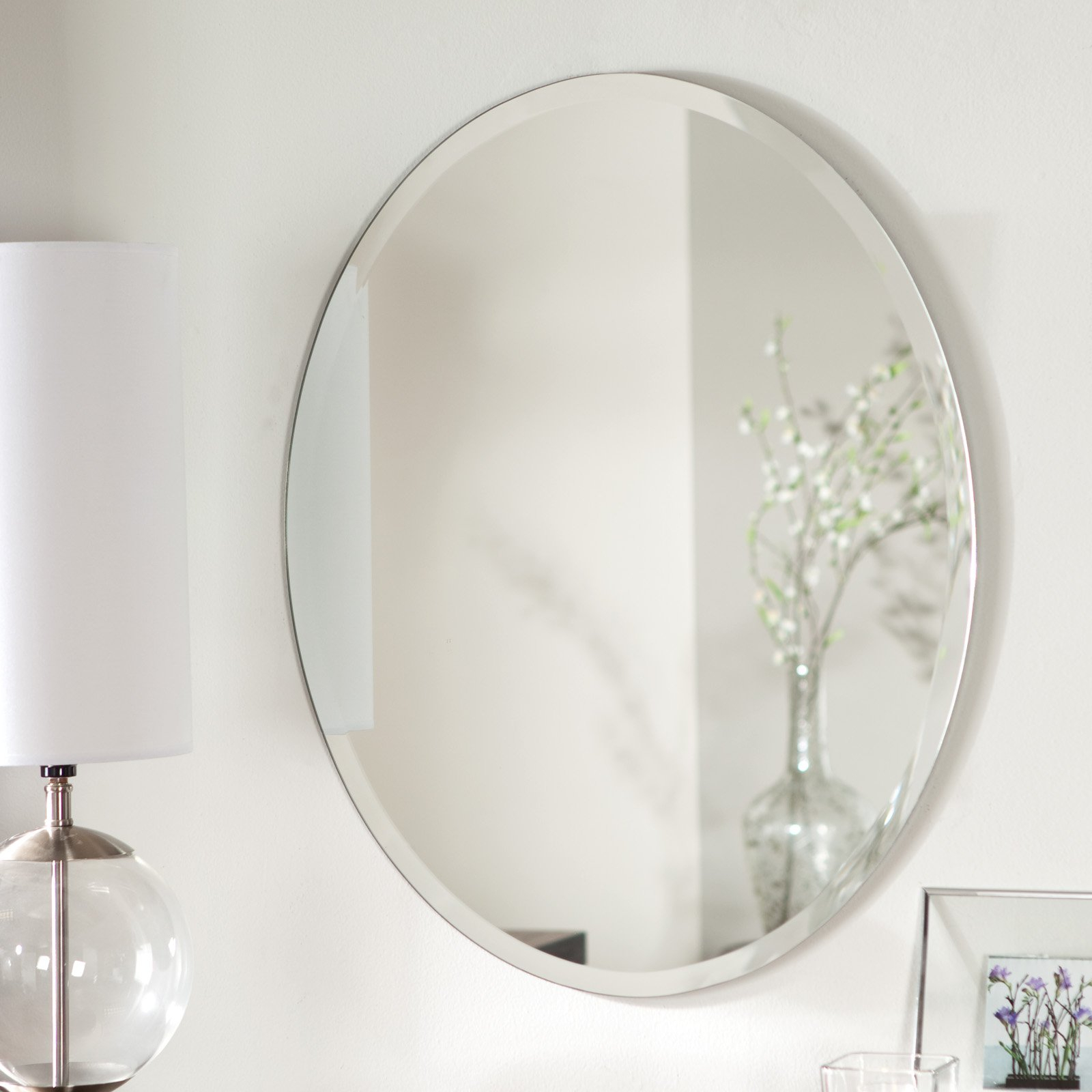 Inspirational Décor Wonderland Odelia Oval Bevel Frameless Wall Mirror - 22W regarding Bathroom Oval Mirror