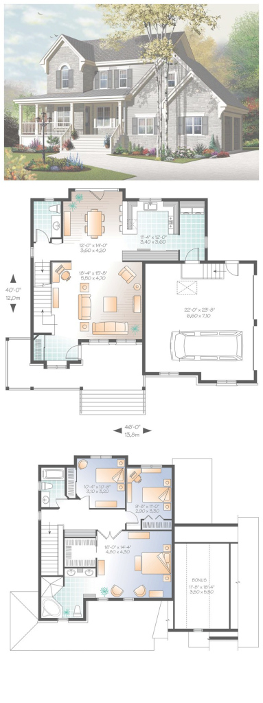 Inspirational European House Plan 76322 | 《Planos & Fachadas》 | Pinterest in High Quality Sims House Plans