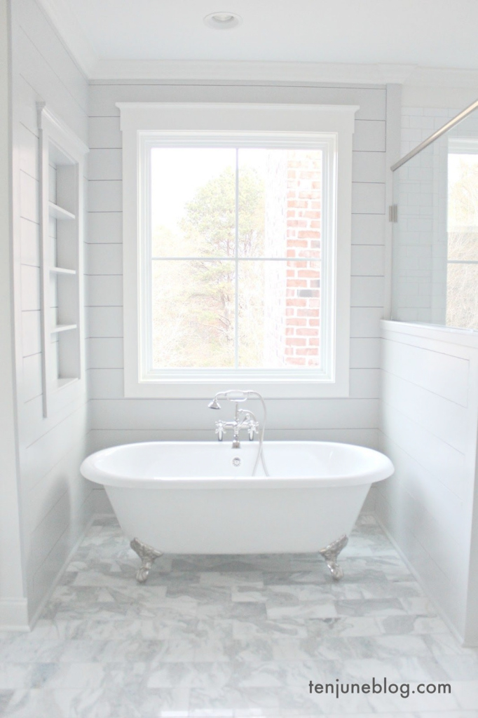 Inspirational Farmhouse: A Tour Of The Master Bathroom. Shiplap - Passive, Sw 7064 in Unique Bathrooms With Shiplap
