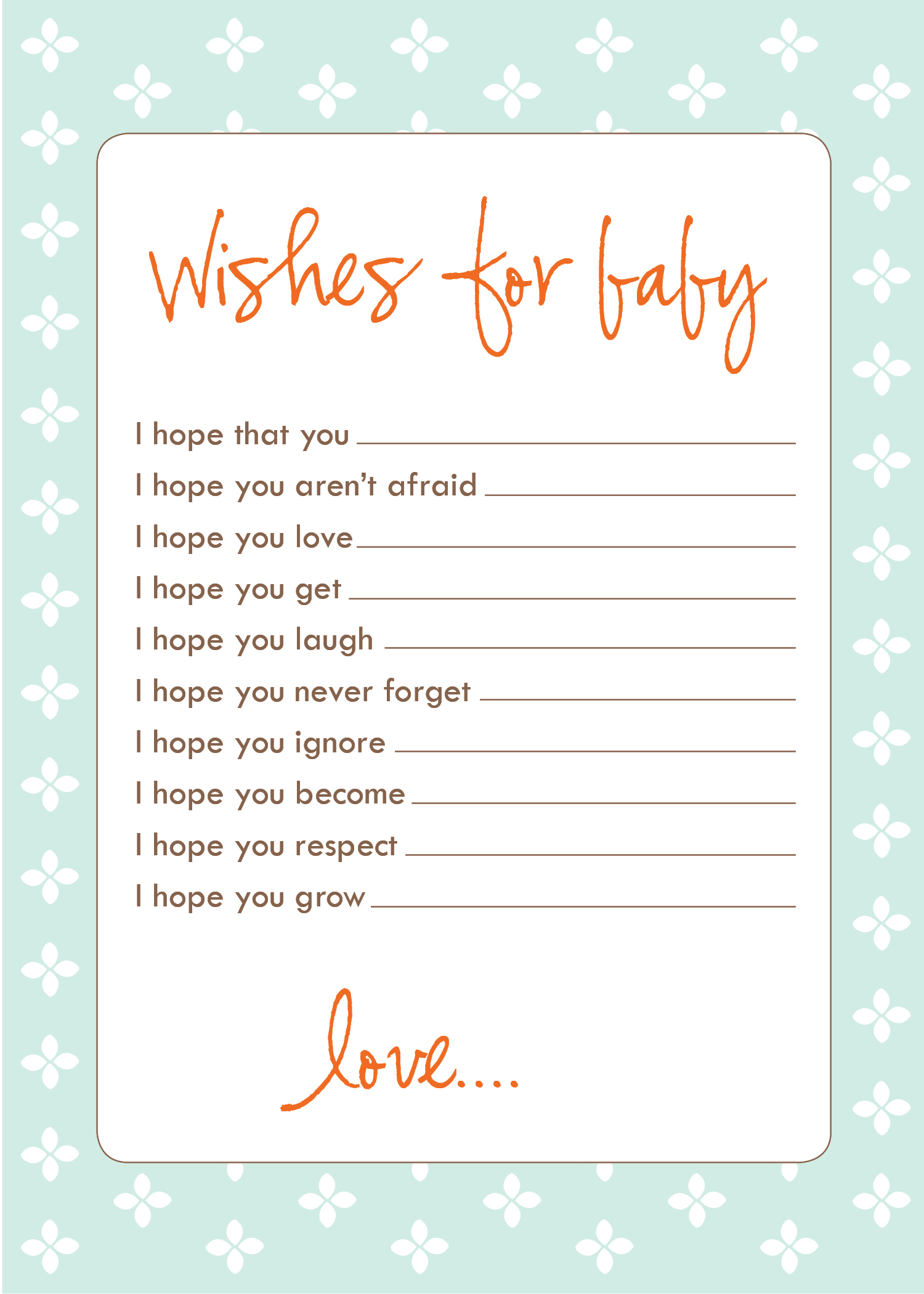 Inspirational Freebie: Wish Cards | Laurenmakes's Weblog intended for Printable Baby Shower Cards