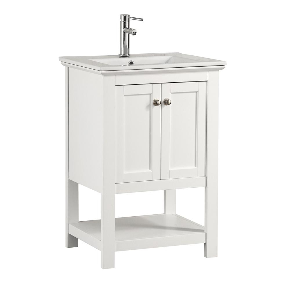 Inspirational Fresca Bradford 24 In. W Traditional Bathroom Vanity In White With pertaining to Traditional Bathroom Vanity