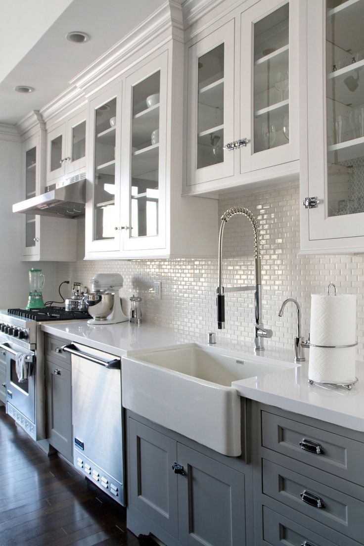 Inspirational Grey/white Kitchen W/ Dark Wood Floors. Farmhouse Sink. | Kitchen intended for Fresh Grey And White Kitchen Cabinets