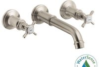 Inspirational Hansgrohe Axor Montreux 2-Handle Wall Mount Bathroom Faucet In intended for Wall Mounted Bathroom Faucets Brushed Nickel
