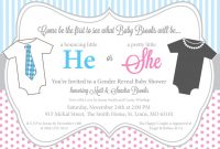 Inspirational He Or She Gender Reveal Baby Shower Invitations, Pink And Blue, One with Baby Shower Invitations