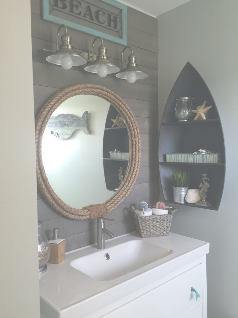 Inspirational Kids Nautical Bathroom Remodel Final Results | Coastal Decor intended for Awesome Nautical Mirror Bathroom