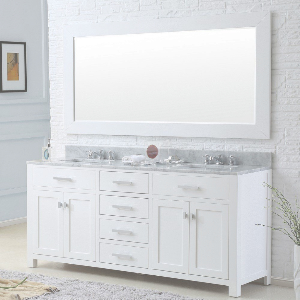 "Inspirational Madison 72"" Solid White Double Sink Bathroom Vanity Only 