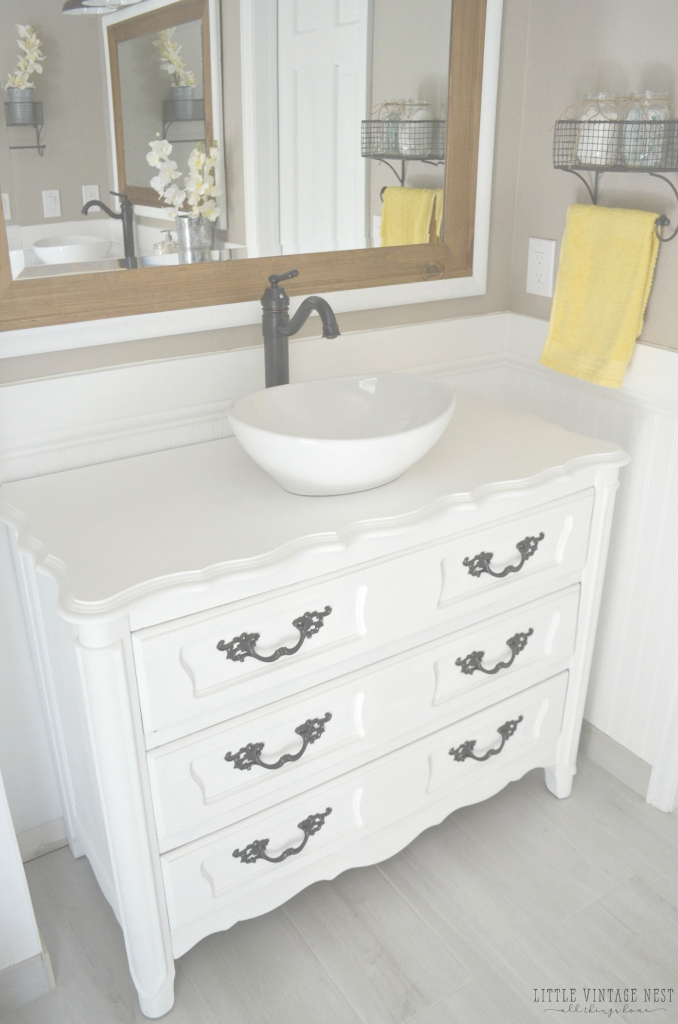 Inspirational Old Dresser Turned Bathroom Vanity Tutorial | Bathroom Vanities for Dresser Bathroom Vanity