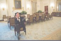 Inspirational President Abraham Lincoln Re-Enactor Fritz Klein Posesthe Famous with Elegant White House State Dining Room