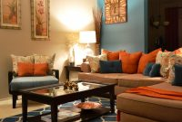 Inspirational Rugs, Coffee Table, Pillows, Teal, Orange, Living Room Behr Paint within Burnt Orange Living Room