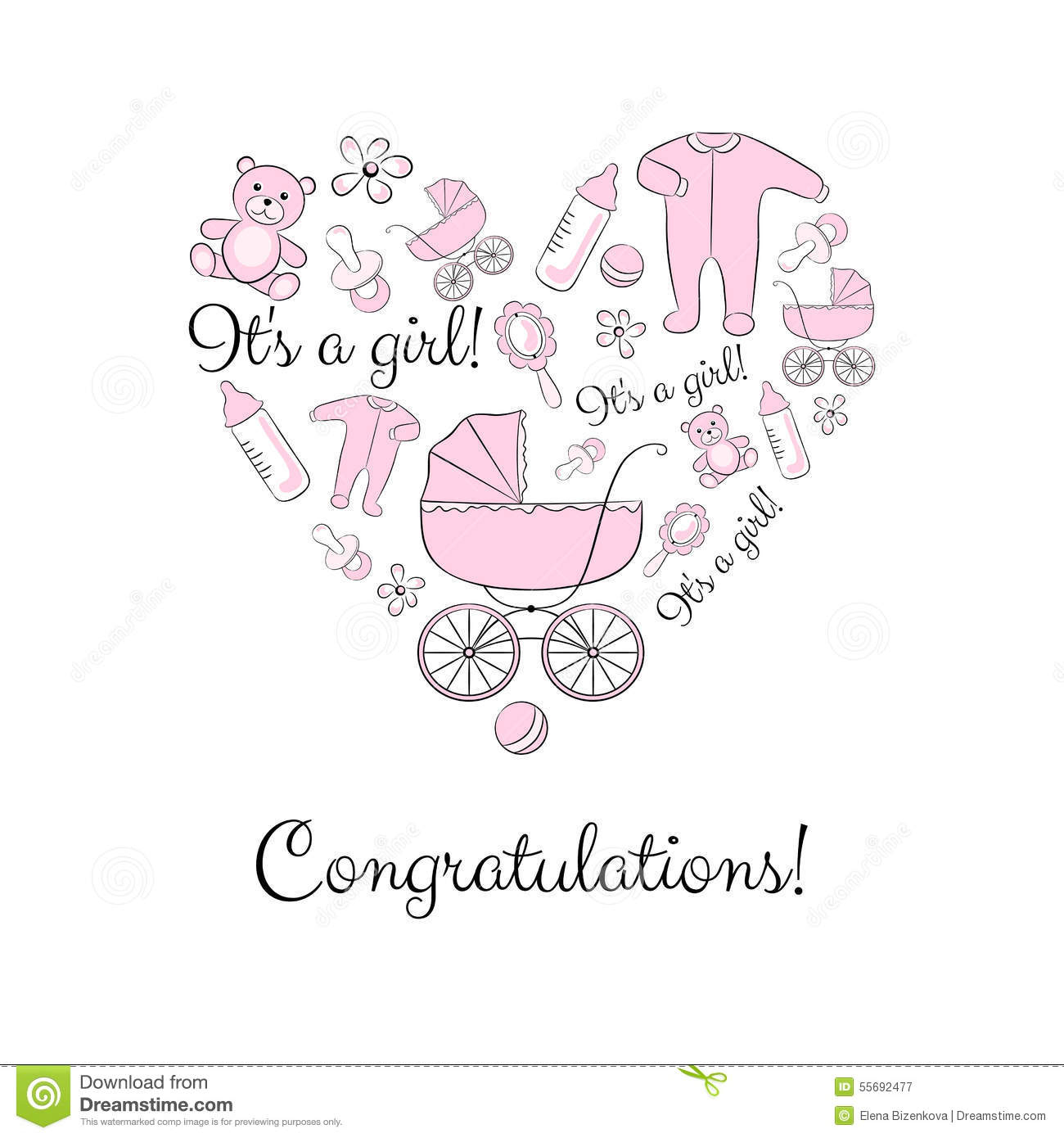 Inspirational Set Of Items For A Newborn Girl Stock Vector - Illustration Of in Baby Shower Congratulations