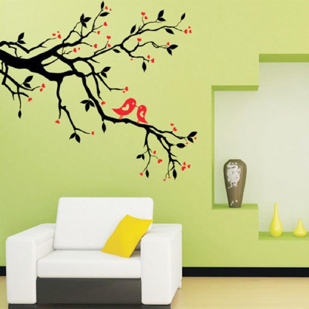 Inspirational Tree Branch Love Birds Cherry Blossom Wall Decor Decals Removable intended for Tree Wall Decals For Living Room