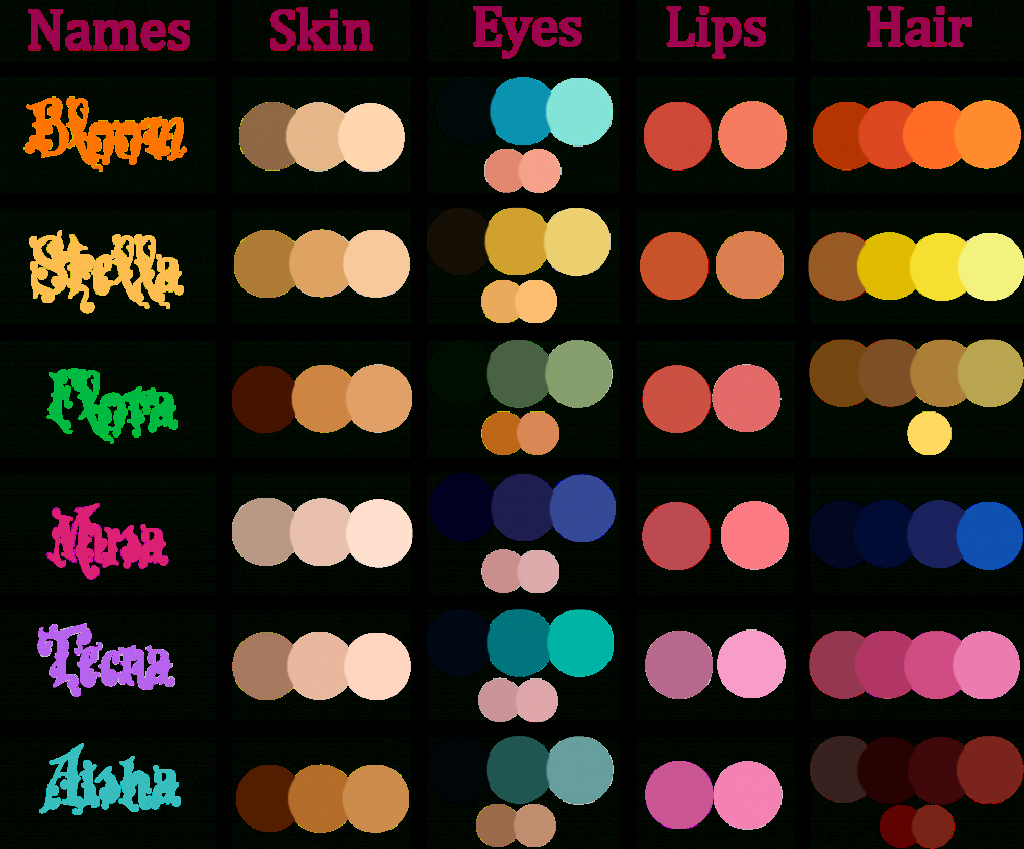 Inspirational Winx Club Color Palettehellen-Mirch On Deviantart for Color Palette With Names