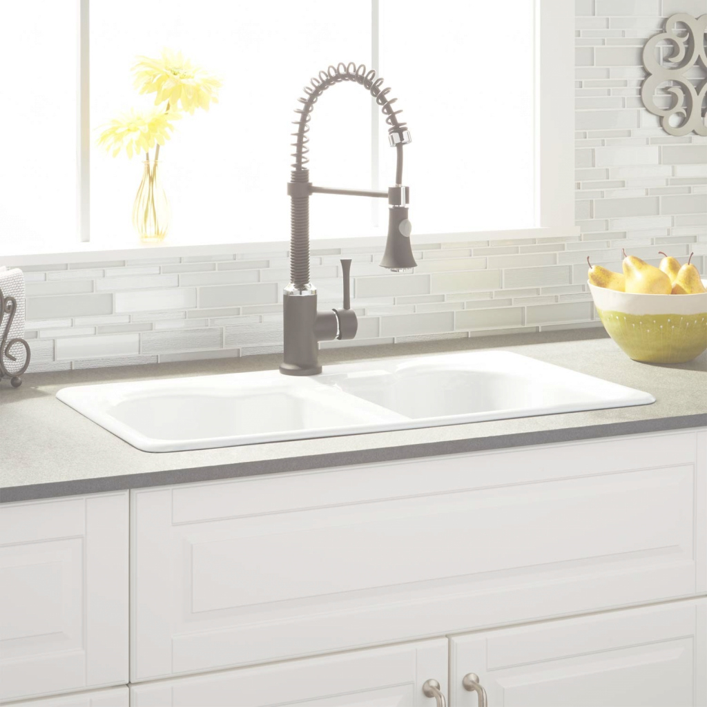 "Lovely 32"" Twenlow Double-Bowl Cast Iron Drop-In Kitchen Sink - White - Kitchen within Cast Iron Bathroom Sink"