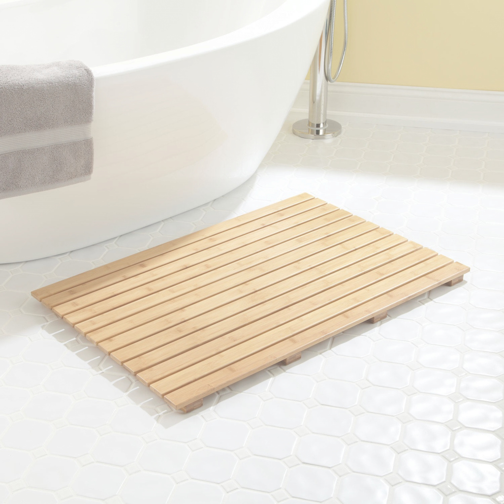 "Lovely 36"" X 24"" Rectangular Bamboo Bath Mat - Bathroom in Bathroom Floor Mat"