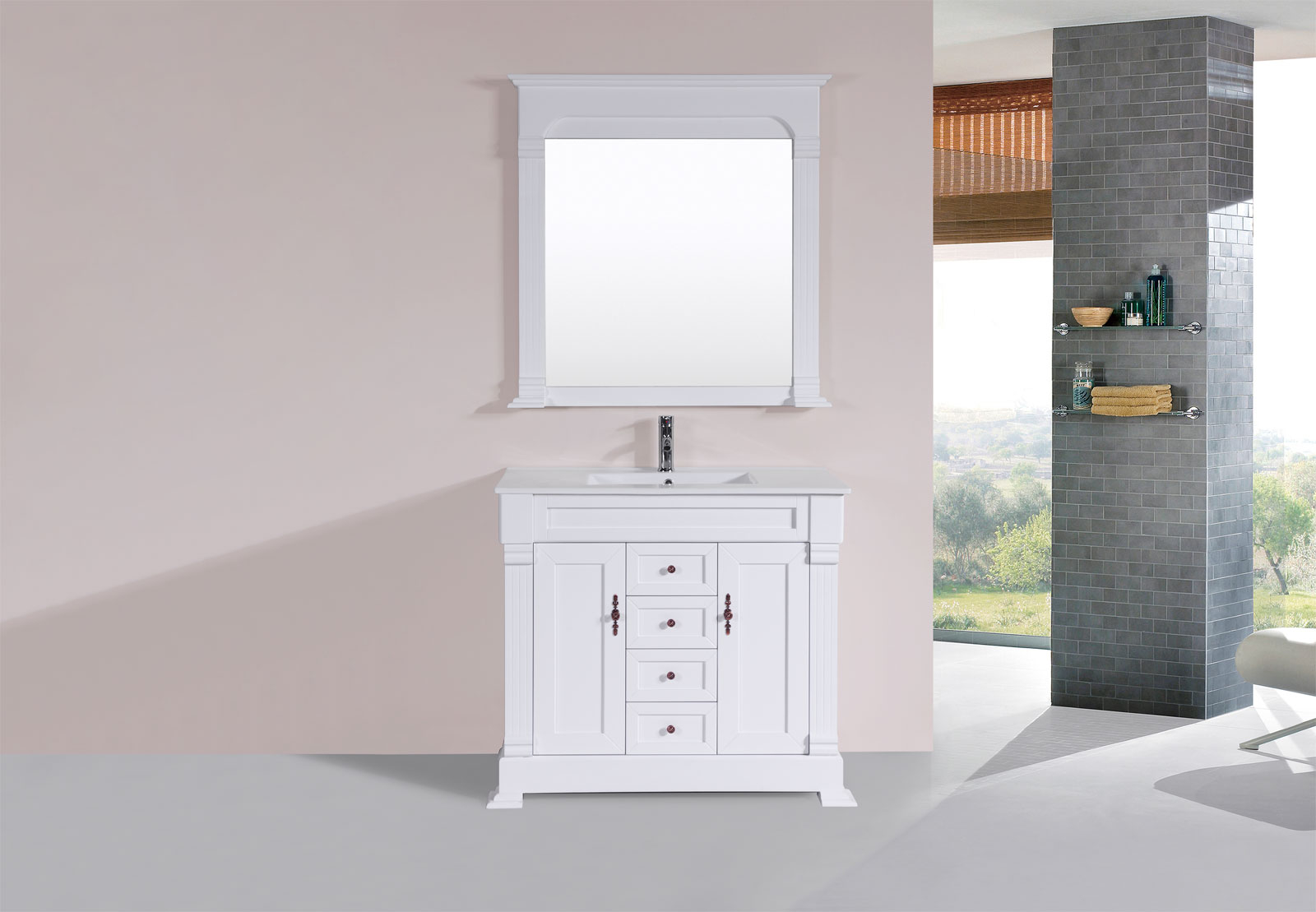 "Lovely 40"" Balboa White Single Traditional Bathroom Vanity With Integrated inside Traditional Bathroom Vanity"