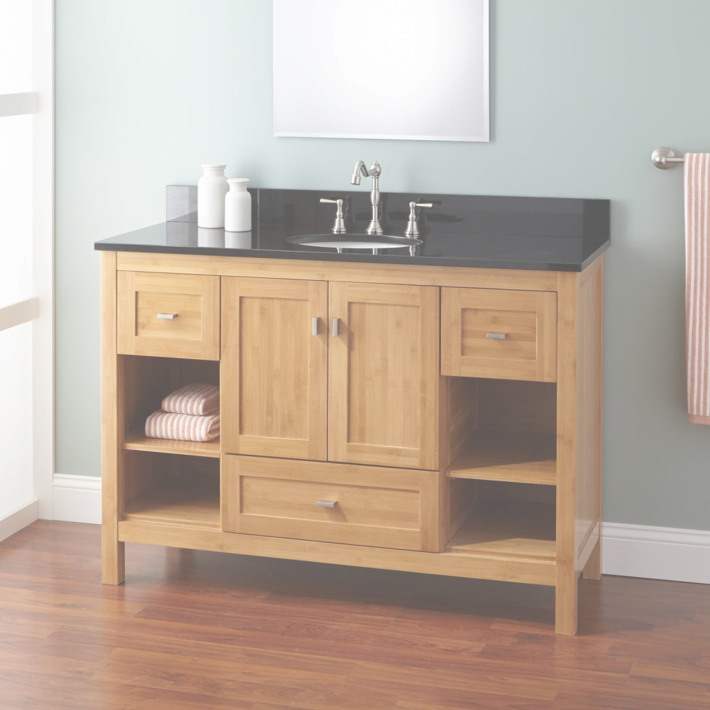 "Lovely 48"" Narrow Depth Alcott Bamboo Vanity For Undermount Sink - Bathroom in Narrow Depth Bathroom Vanities"
