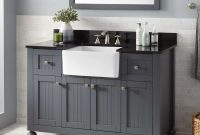 "Lovely 48"" Nellie Farmhouse Sink Vanity – Dark Gray – Bathroom throughout Bathroom Farm Sink Vanity"