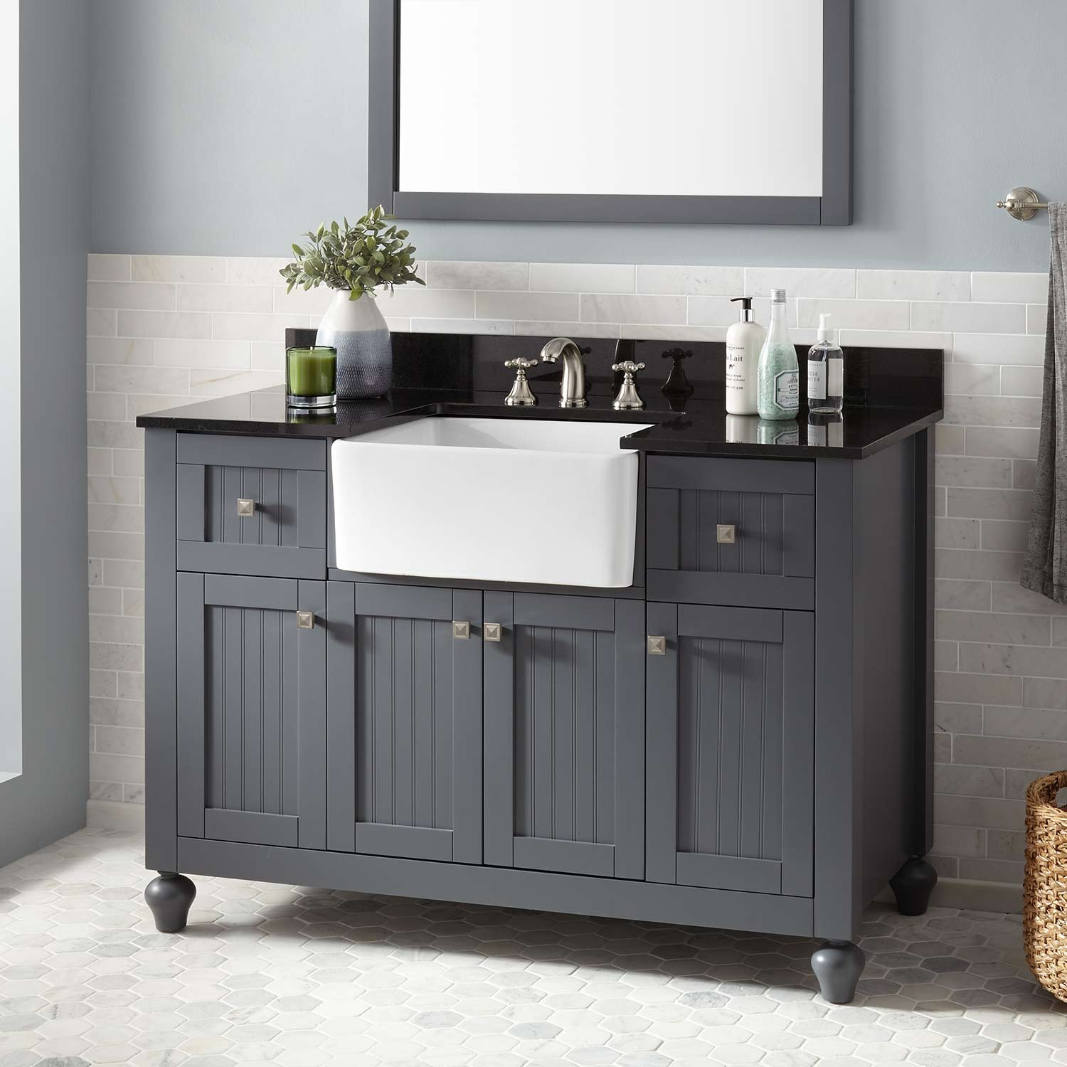 "Lovely 48"" Nellie Farmhouse Sink Vanity - Dark Gray - Bathroom throughout Bathroom Farm Sink Vanity"
