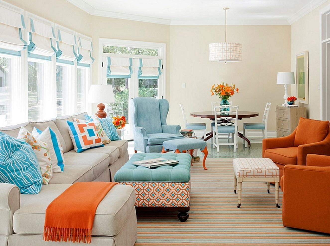Lovely 53 Adorable Burnt Orange And Teal Living Room Ideas - Round Decor regarding Burnt Orange Living Room