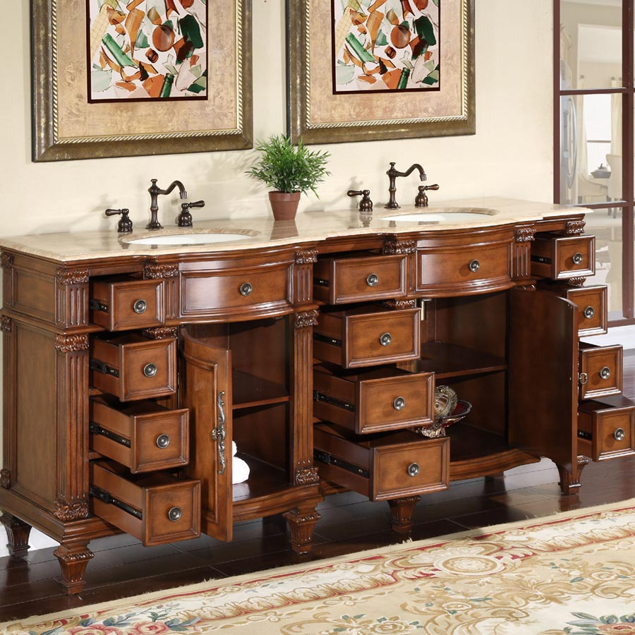 "Lovely 72"" Perfecta Pa-5228 Bathroom Vanity Double Sink Cabinet (Brazilian within Bathroom Vanities Double Sink 72"