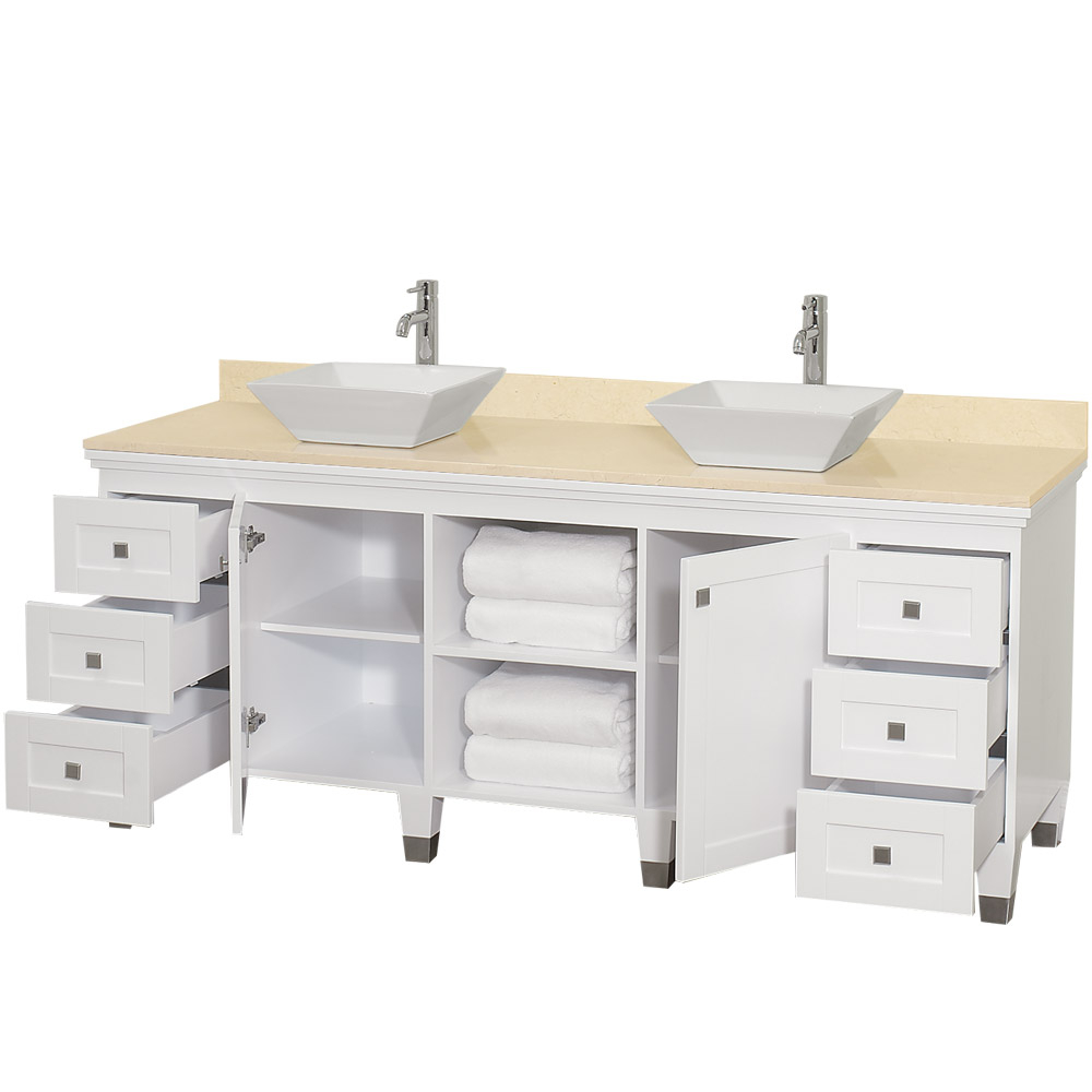 "Lovely 72"" Premiere-72 White Bathroom Vanity :: Bathroom Vanities :: Bath inside Bathroom Vanity No Sink"