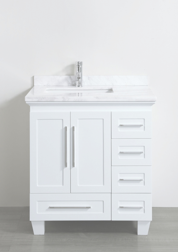 Lovely Accanto Contemporary 30 Inch White Finish Bathroom Vanity Marble regarding Bathroom Vanities Small