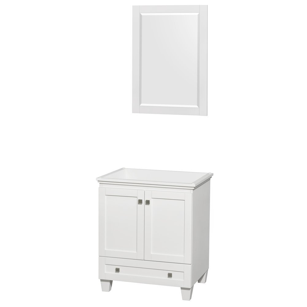 Lovely Acclaim 30 Inch Single Bathroom Vanity In White, No Countertop, No Sink with Bathroom Vanity No Sink