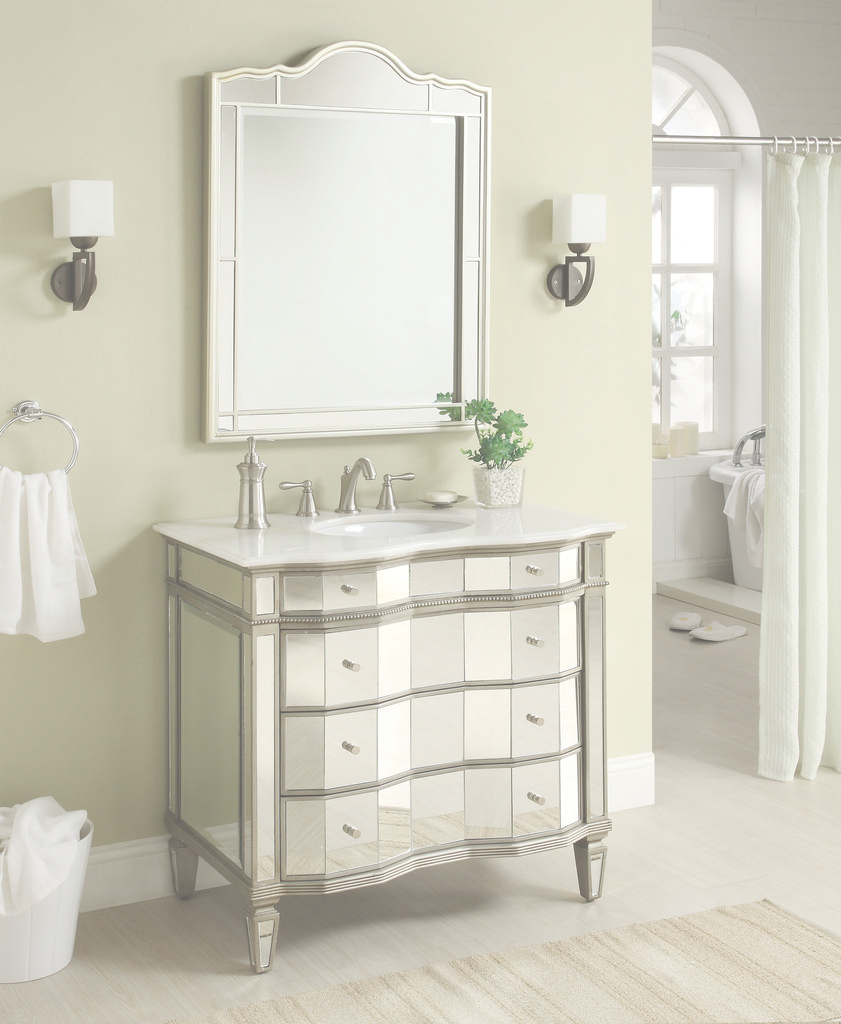Lovely Adelina 36 Inch Mirrored Bathroom Vanity, Imperial White Marble intended for Set Mirror Bathroom Vanity