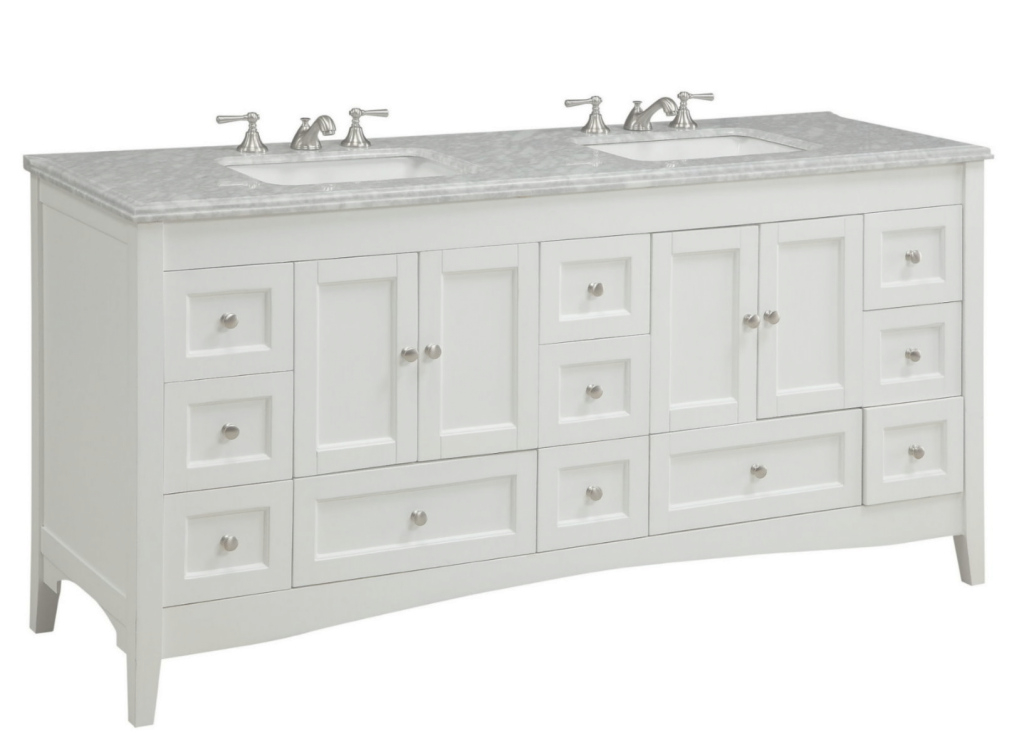 Lovely Adelina 72 Inch Double Sink Bathroom Vanity White Finish intended for Bathroom Vanity 72 Double Sink