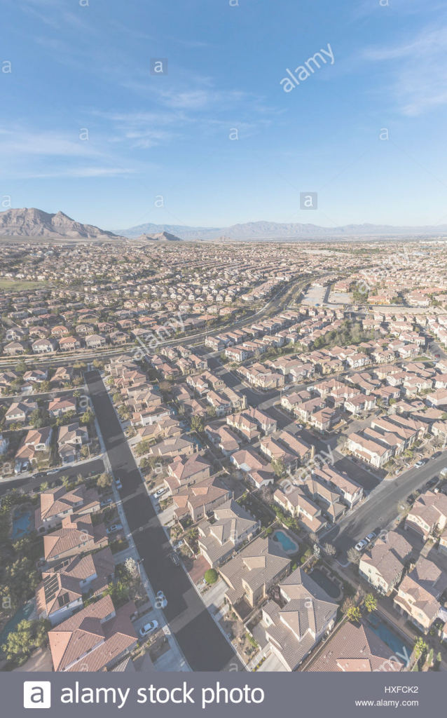 Lovely Aerial View Of Suburban Bedroom Community In Las Vegas, Nevada Stock throughout Bedroom Community