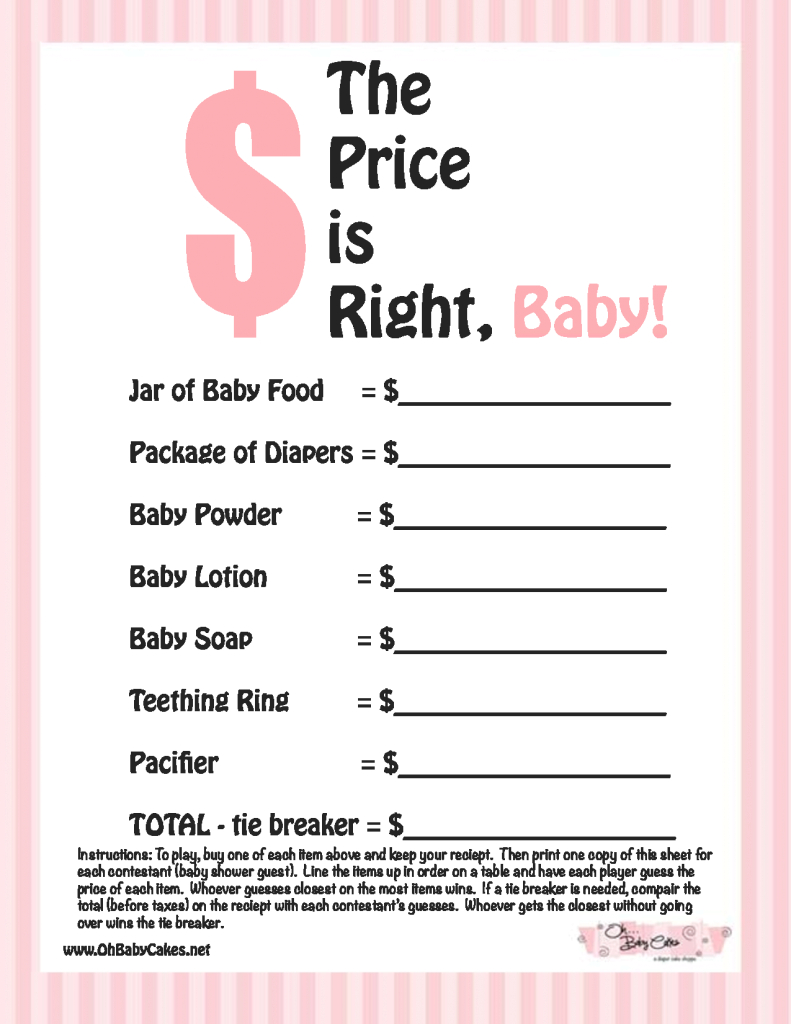 Lovely Baby Shower Games | The Price Is Right Baby Shower Game (Pink pertaining to Beautiful Baby Shower Price Is Right