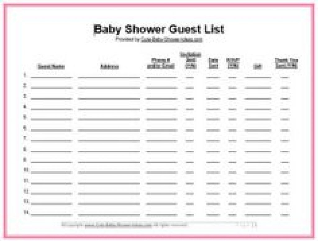 Lovely Baby Shower List Decoration Baby Shower Gift List Template Free Baby intended for Baby Shower List