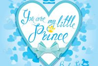 Lovely Baby Shower With Heart And Crown On Blue Background. Calligraphic in Baby Shower Congratulations