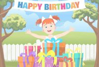 Lovely Backyard Birthday Party Scene. Cartoon Vector Illustration With pertaining to Fresh Backyard Cartoon
