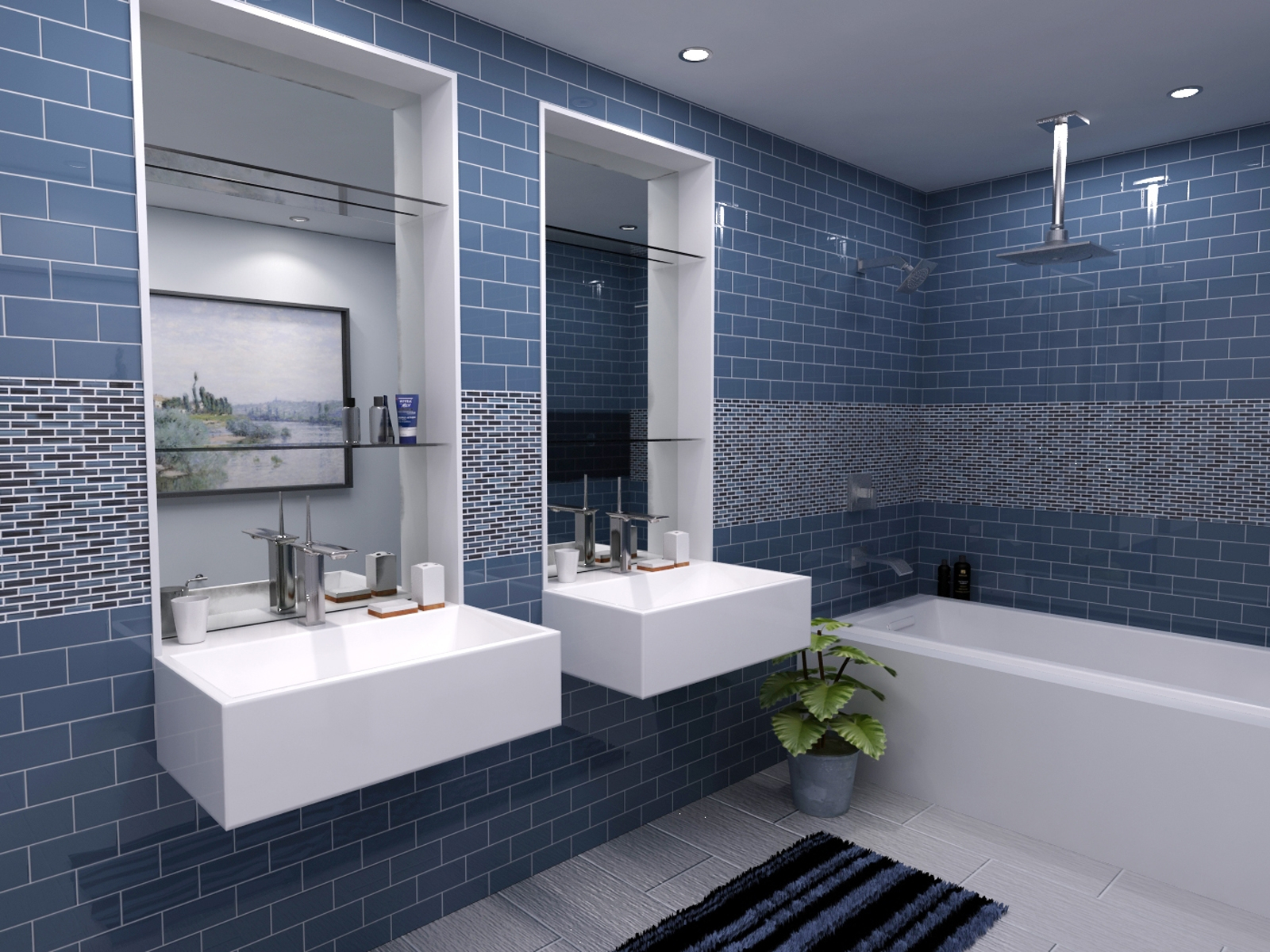 Lovely Bathroom : Bathrooms Design White Tile Backsplash Sheets And With pertaining to Blue Bathroom Remodel