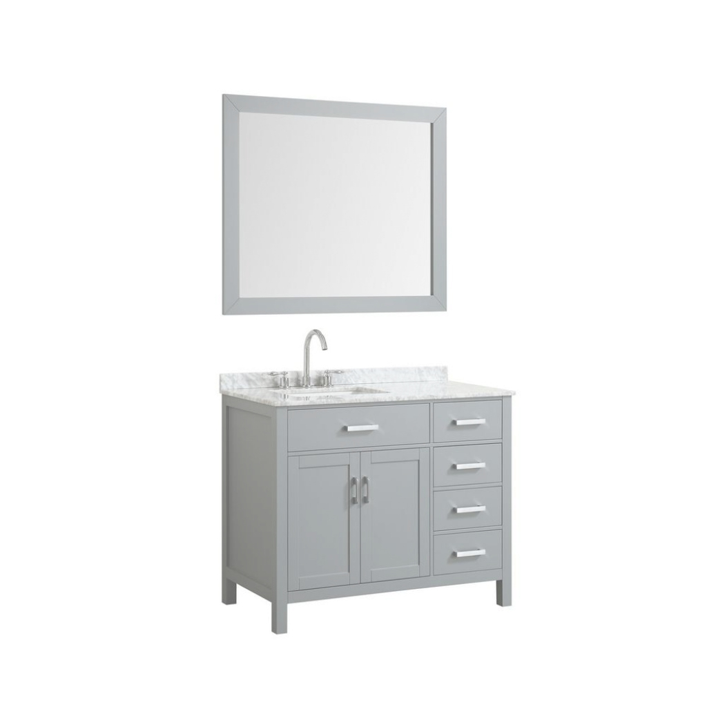 Lovely Belmont Decor Hampton 43 In. Bath Vanity In Gray With Marble Vanity inside White Bathroom Vanity With Top