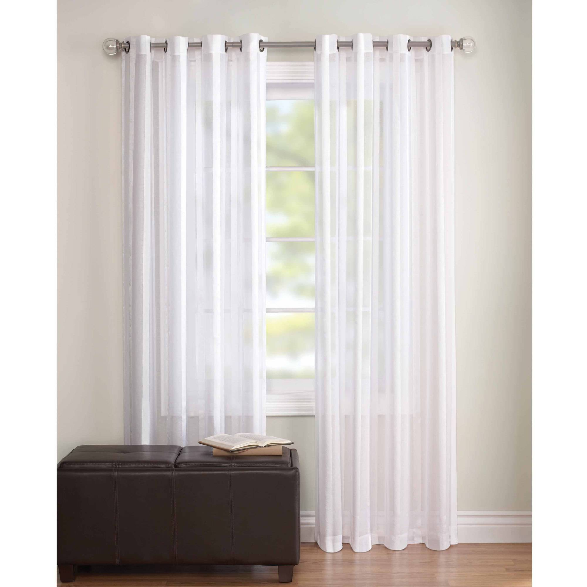 Lovely Better Homes And Gardens Embroidered Sheer Curtain Panel - Walmart for Walmart Living Room Curtains