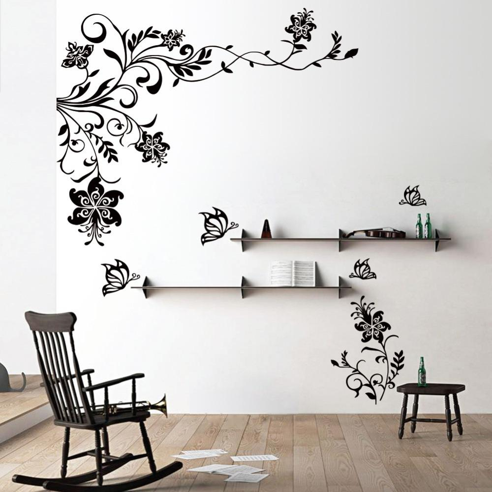 Lovely Butterfly Vine Flower Wall Decals Vinyl Art Stickers Living Room inside Living Room Decals