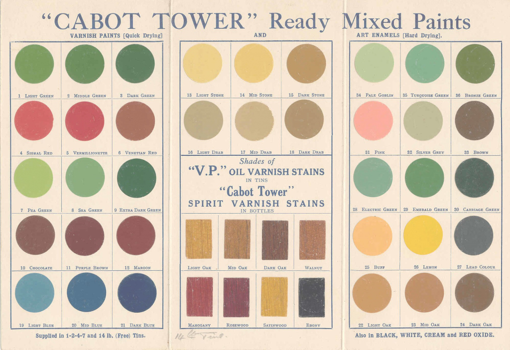 "Lovely Cabot Tower"" Ready-Mixed Paint. 1930S Colour Card. 