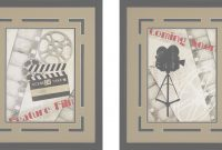 "Lovely Coming Soon!"" And Movie Camera Framed Theater Wall Art Pair with regard to Movie Themed Decor"