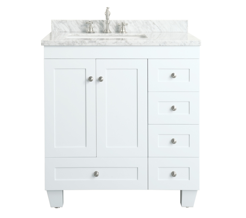 Lovely Contemporary 30 Inch White Finish Bathroom Vanity Marble Countertop inside Inspirational 30 White Bathroom Vanity