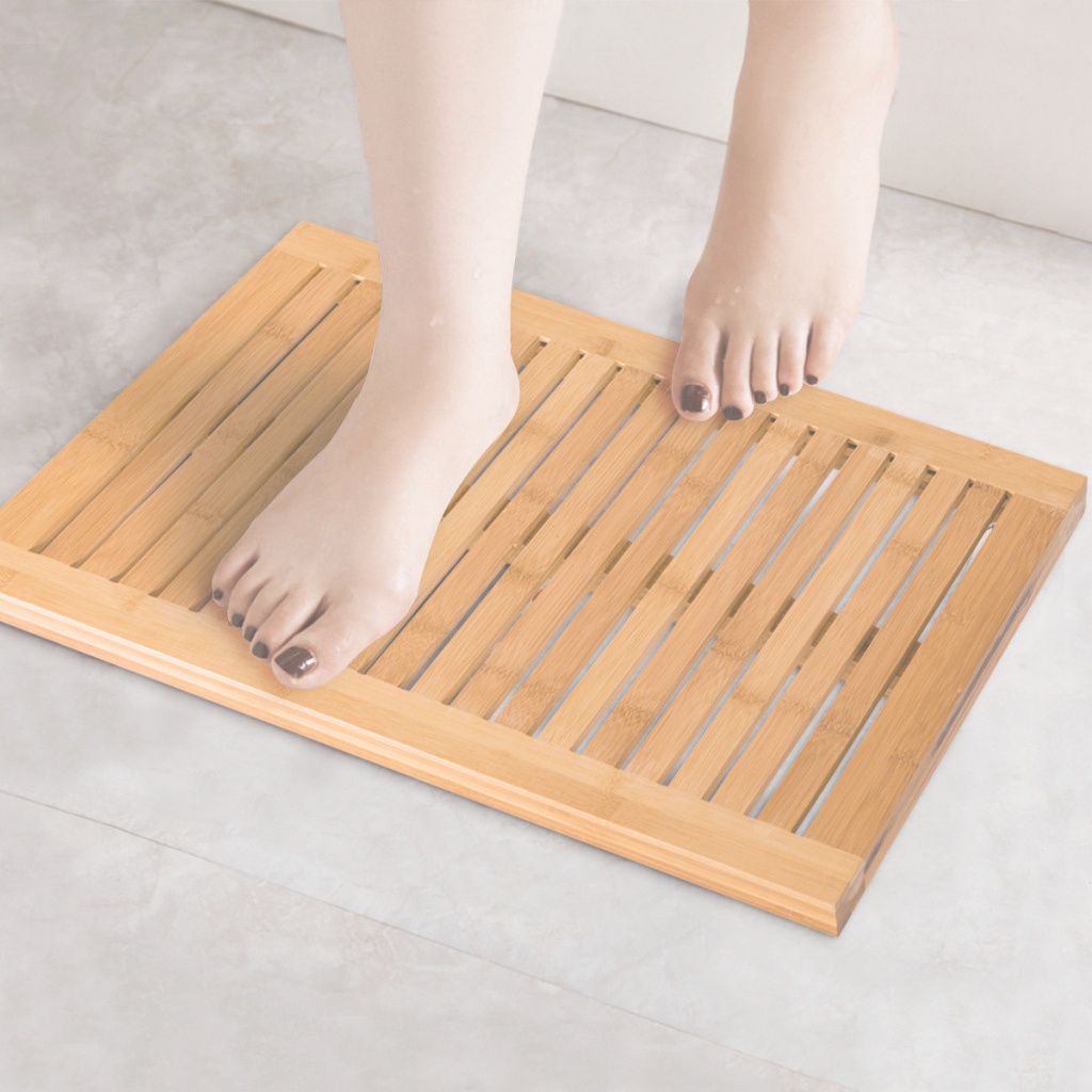 Lovely Costway: Costway Bamboo Shower Mat Bathroom Bath Floor Mat Spa Sauna pertaining to New Bathroom Floor Mat