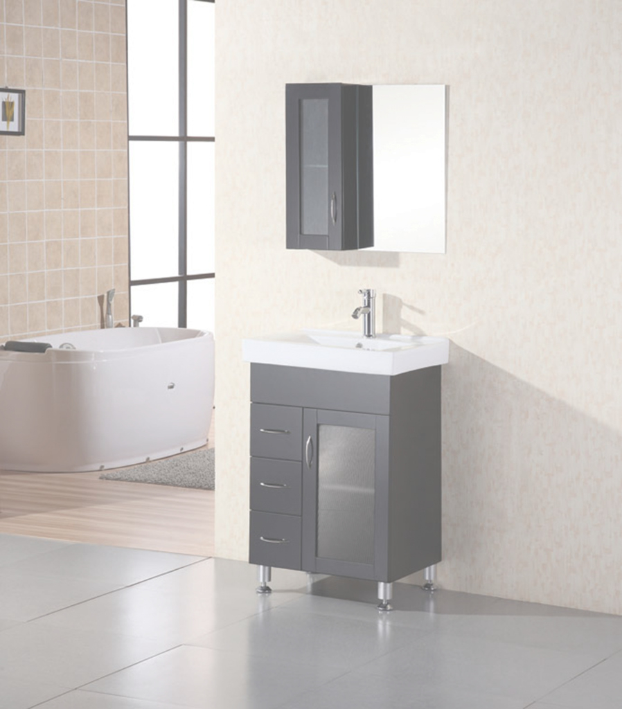 Lovely Design Element Milan 24″ Single Sink Vanity Set In Espresso inside Beautiful 24 Bathroom Vanity And Sink