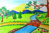 Lovely Drawing Landscape Of Mountain And River For Kids Ideas For Landscape with regard to Set Landscape Drawing For Class 8
