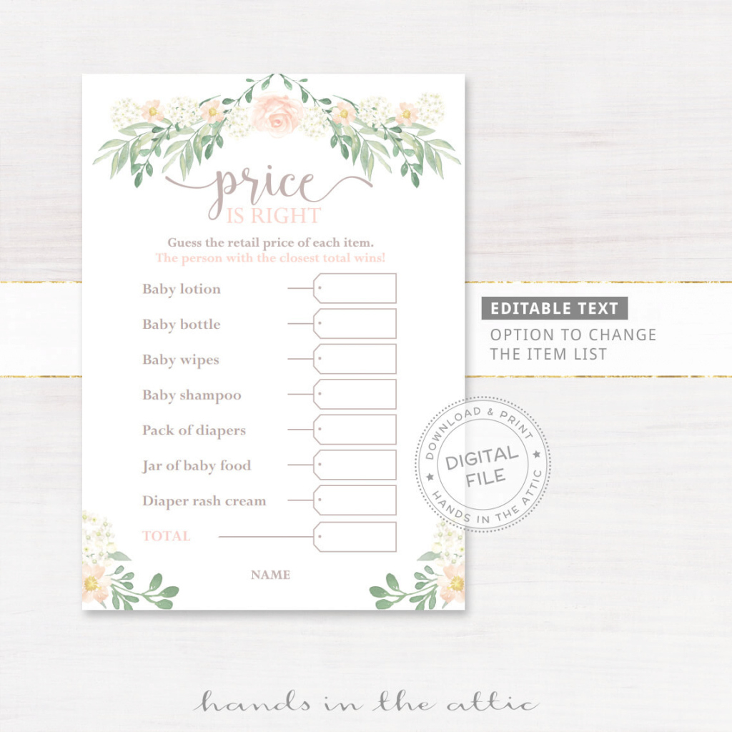 Lovely Editable Price Is Right | Baby Shower Game | Printable Stationery within Beautiful Baby Shower Price Is Right