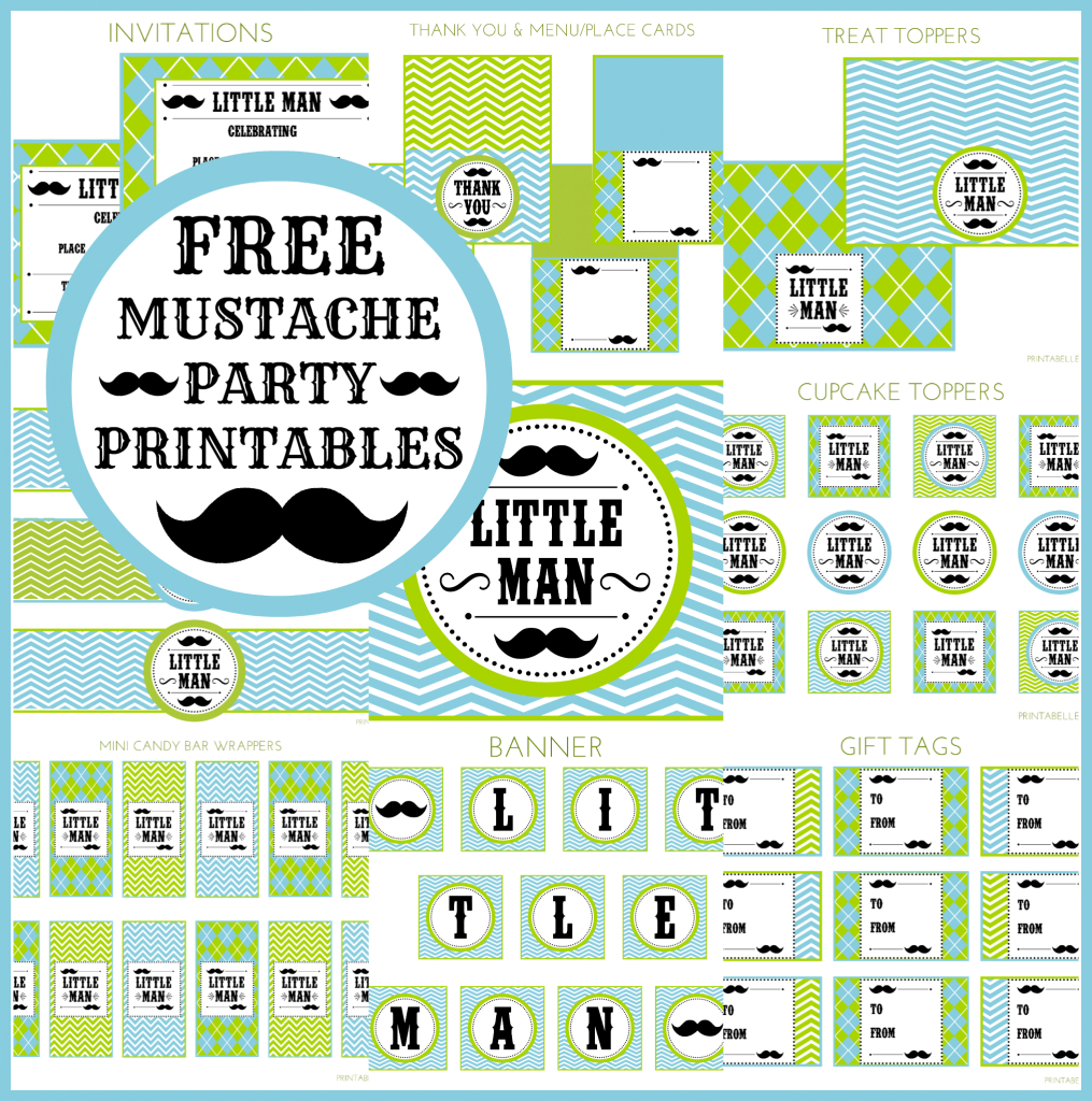 Lovely Free Little Man Mustache Bash Party Printables From Printabelle throughout Little Man Baby Shower Free Printables