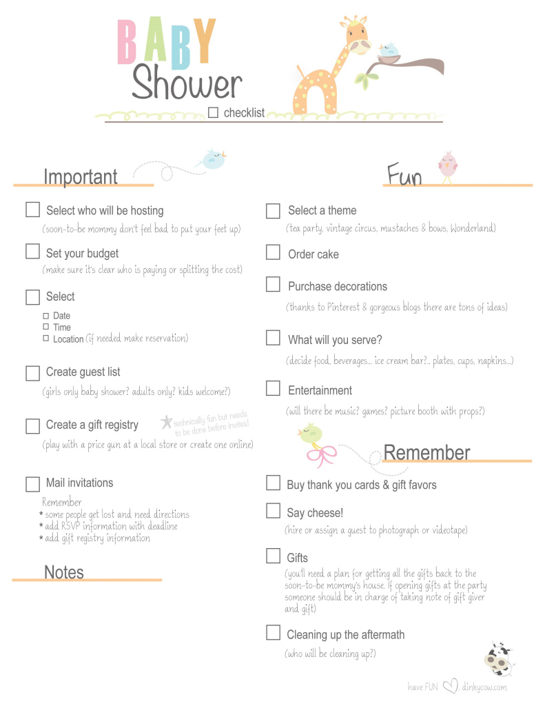Lovely Free Printable Baby Shower Checklist |  Paste The Link Below Into pertaining to Who Plans A Baby Shower