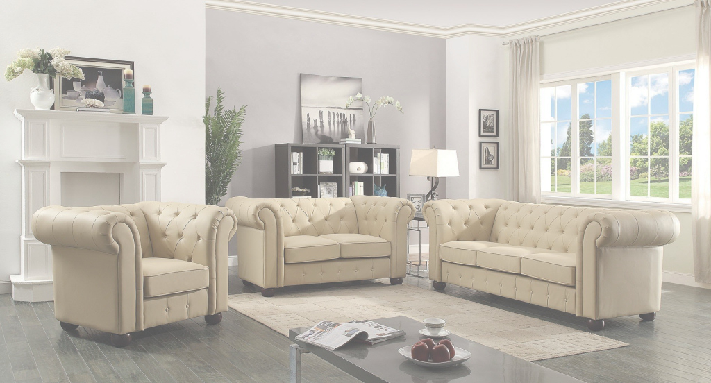 Lovely G492 Tufted Living Room Set (Beige) - Living Room Sets - Living Room intended for Elegant Beige Living Room Set