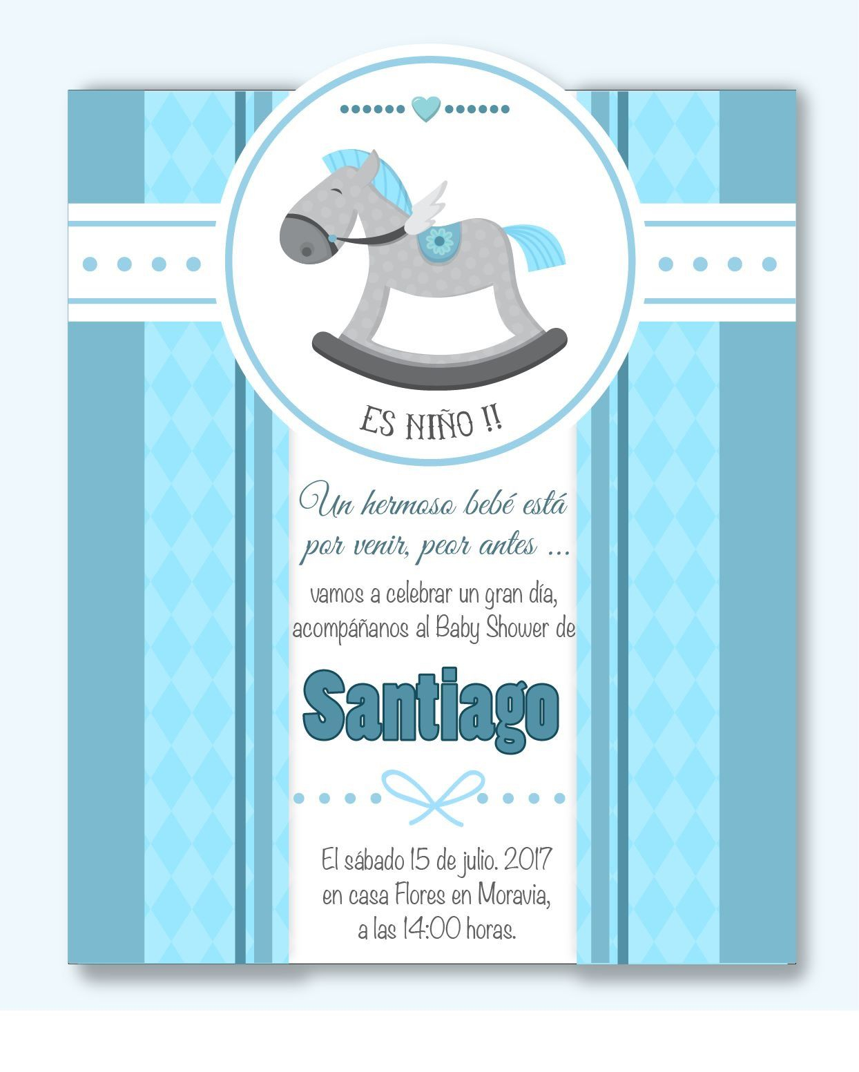 Lovely Invitación Baby Shower Niño ! Mod: Bs08 Incluye: Diseño throughout Invitaciones Para Baby Shower De Niño