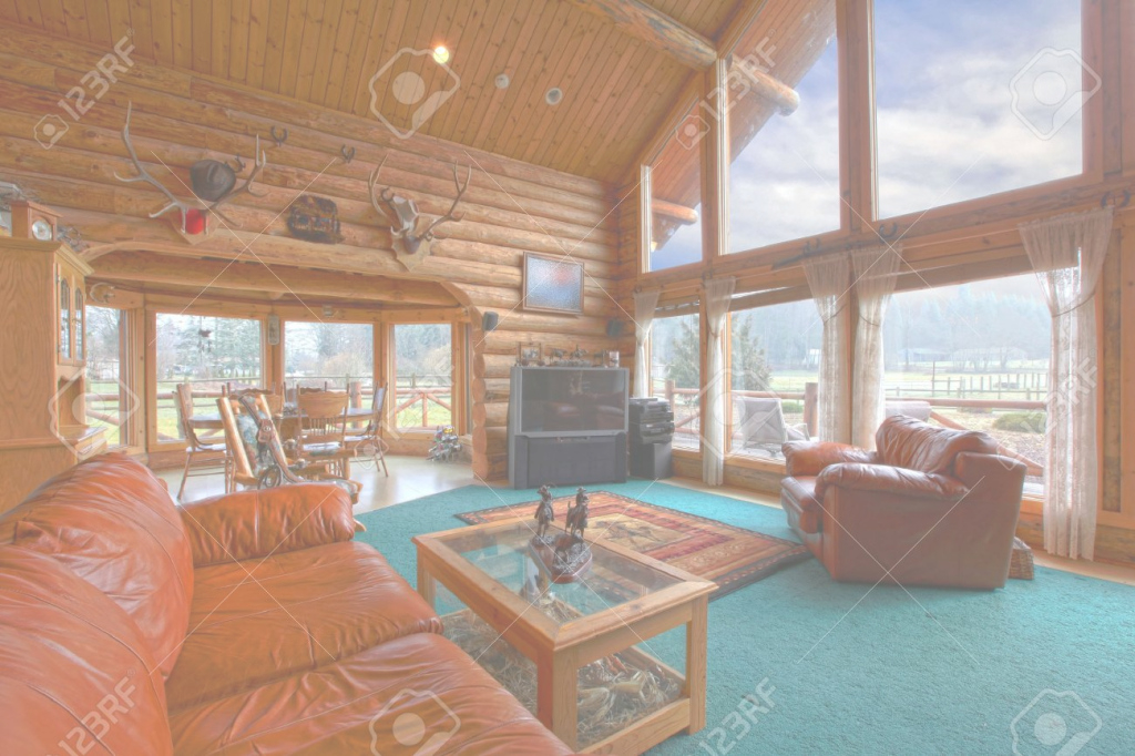 Lovely Large Living Room In The Rustic Log Cabin On The Horse Farm Stock for Cabin Living Room